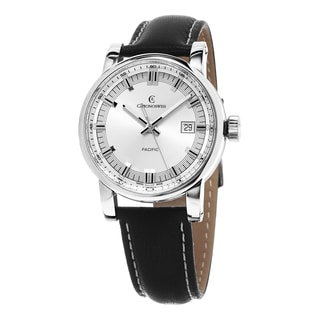 Chronoswiss Men's CH-2883-SI2 'Pacific' Silver Dial Black Leather Strap Swiss Automatic Watch