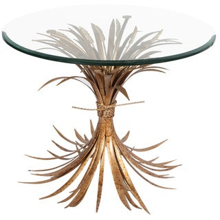 Horizon Wheat Side Table Gold Antique with Glass Top