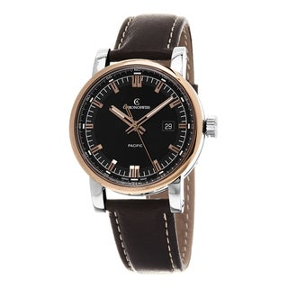 Chronoswiss Men's CH-2882-R-BK1 'Pacific' Black Dial Brown Leather Strap Swiss Automatic Watch