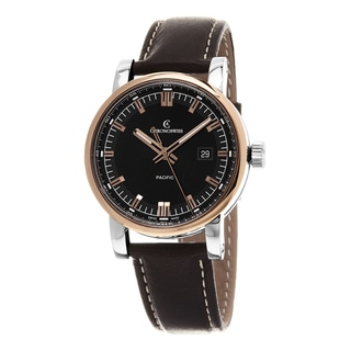 Chronoswiss Men's CH-2882-BR-BK2 'GrandPacific' Black Dial Brown Leather Strap Swiss Automatic Watch