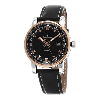Chronoswiss Men's CH-2882-BR-BK2 'GrandPacific' Black Dial Black Leather Strap Swiss Automatic Watch