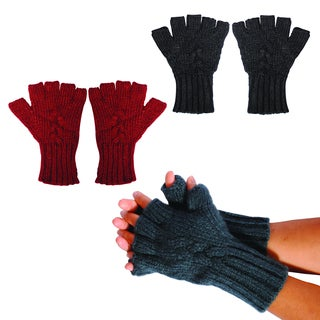 Bohemian Braided Stitch Fingerless Gloves