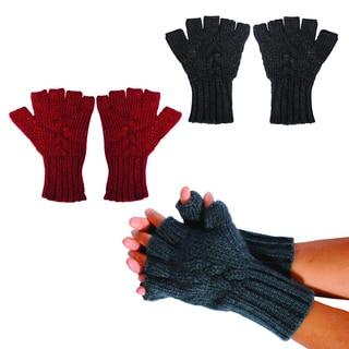 Bohemian Braided Stitch Fingerless Gloves
