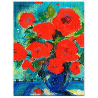 Sheila Golden 'Cobalt Vase with Red Blossoms' Canvas Wall Art
