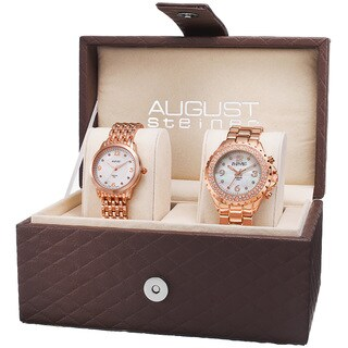 August Steiner Women's Diamond-Accented Quartz Rose-Tone Bracelet Set with FREE Bangle - GOLD