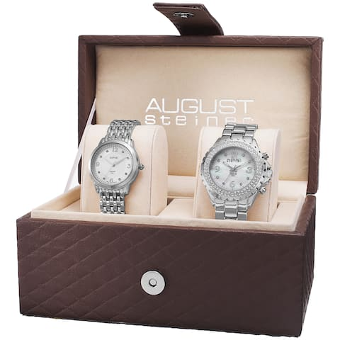 August Steiner Women's Diamond-Accented Quartz Silver-Tone Bracelet Set - silver