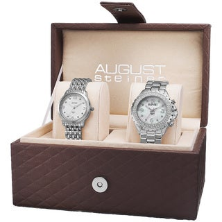August Steiner Women's Diamond-Accented Quartz Silver-Tone Bracelet Set with FREE Bangle - silver