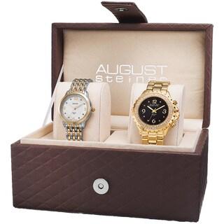 August Steiner Women's Diamond-Accented Quartz Gold-Tone Bracelet Set - GOLD