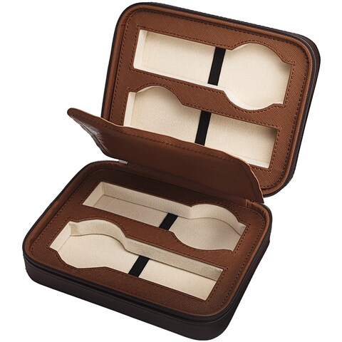 Brown Leatherette Four-Slot Watch Box/Travel Case