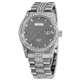Akribos XXIV Men's Diamond Crystal Quartz Stainless Steel Gun Bracelet Watch
