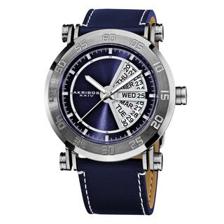 Akribos XXIV Men's Stainless Steel Quartz Day Date Leather Blue Strap Watch with Gift Box