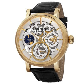 Akribos XXIV Men's Automatic Multifunction Dual-Time Skeleton Dial Leather Gold-Tone Strap Watch with FREE GIFT - Gold