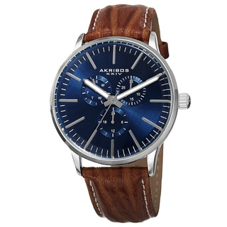 Akribos XXIV Men's Quartz Multifunction Leather Blue Strap Watch