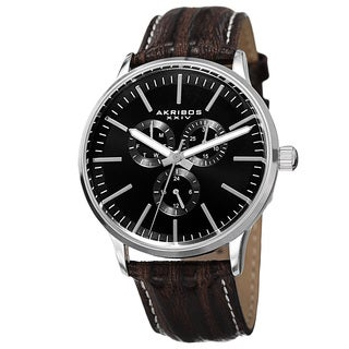 Akribos XXIV Men's Quartz Multifunction Leather Silver-Tone Strap Watch