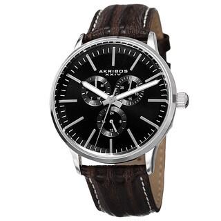 Akribos XXIV Men's Quartz Multifunction Leather Silver-Tone Strap Watch - silver