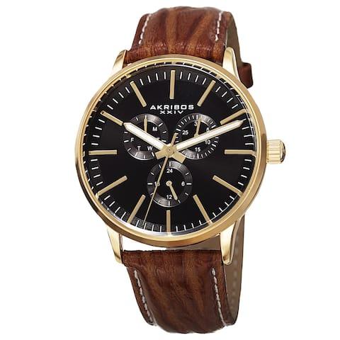 Akribos XXIV Men's Quartz Multifunction Leather Gold-Tone Strap Watch - GOLD
