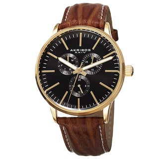 Akribos XXIV Men's Quartz Multifunction Leather Gold-Tone Strap Watch - Gold