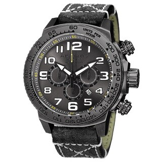 Akribos XXIV Men's Quartz Chronograph Leather Black Strap Watch