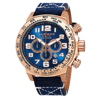 Akribos XXIV Men's Quartz Chronograph Leather Rose-Tone Strap Watch with Gift Box - Blue