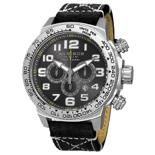 Akribos XXIV Men's Quartz Chronograph Leather Silver-Tone Strap Watch with FREE GIFT - Silver