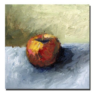 Michelle Calkins 'Apple Still Life with Grey and Olive' Canvas Wall Art