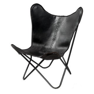 Pine Canopy Midewin Geometric Black Leather Butterfly Chair