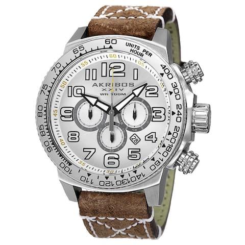 Akribos XXIV Men's Quartz Chronograph Leather Silver-Tone Strap Watch - brown
