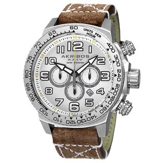 Akribos XXIV Men's Quartz Chronograph Leather Silver-Tone Strap Watch - brown