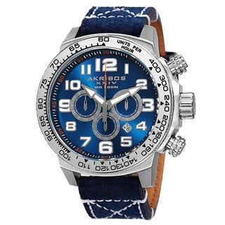 Akribos XXIV Men's Quartz Chronograph Leather Silver-Tone Strap Watch - Blue