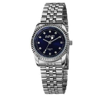 August Steiner Women's Diamond Markers Stainless Steel Silver-Tone Bracelet Watch - Blue