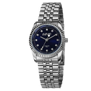 August Steiner Women's Diamond Markers Stainless Steel Silver-Tone Bracelet Watch