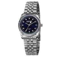 August Steiner Women's Diamond Markers Stainless Steel Silver-Tone Bracelet Watch with FREE Bangle - BLue