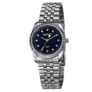 August Steiner Women's Diamond Markers Stainless Steel Silver-Tone Bracelet Watch - Blue