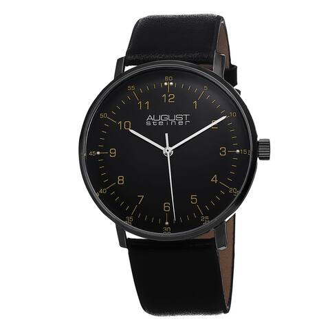 August Steiner Men's Swiss Quartz Leather Strap Watch - Black
