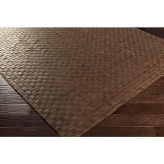 Hand-Woven Burslem Crosshatched Leather Rug (5' x 7'6)