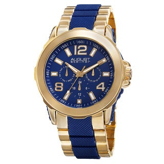 August Steiner Men's Quartz Multifunction Gold-Tone Bracelet Watch