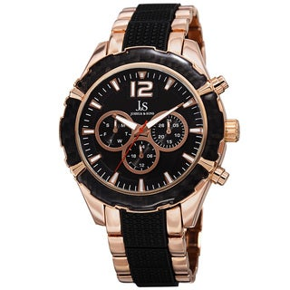 Joshua & Sons Men's Swiss Quartz Multifunction Dual-Time Rose-Tone Bracelet Watch