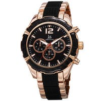 Joshua & Sons Men's Swiss Quartz Multifunction Dual-Time Rose-Tone Bracelet Watch - GOLD
