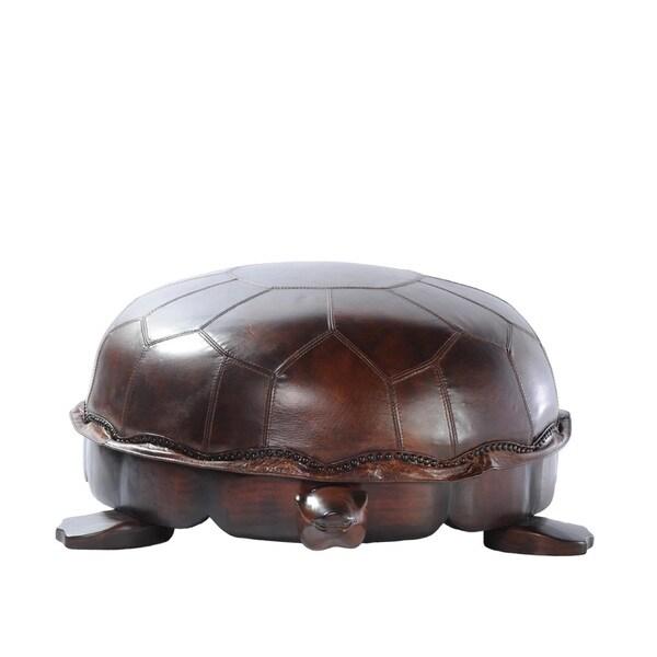 Shop Lazzaro Leather Franklin Large Snap Turtle Ottoman