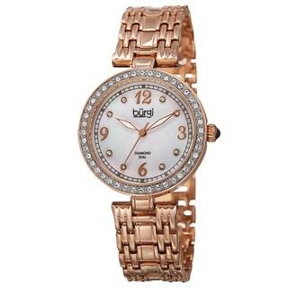 Burgi Women's Quartz Dial Swarovski Accented Bezel Rose-Tone Bracelet Watch