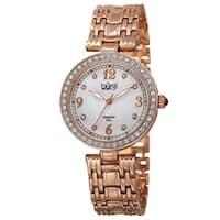 Burgi Women's Quartz Dial Swarovski Accented Bezel Rose-Tone Bracelet Watch - GOLD