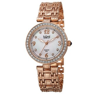 Burgi Women's Quartz Dial Swarovski Accented Bezel Rose-Tone Bracelet Watch - GOLD