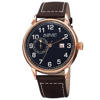 August Steiner Men's Swiss Quartz Multifunction Leather Rose-Tone Strap Watch