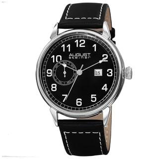 August Steiner Men's Swiss Quartz Multifunction Leather Silver-Tone Strap Watch