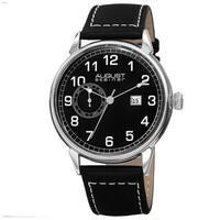 August Steiner Men's Swiss Quartz Multifunction Leather Silver-Tone Strap Watch - black
