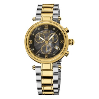 Burgi Women's Mother of Pearl Dial Chronograph Stainless Steel Two-Tone Bracelet Watch