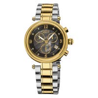 Burgi Women's Mother of Pearl Dial Chronograph Stainless Steel Two-Tone Bracelet Watch with FREE Bangle