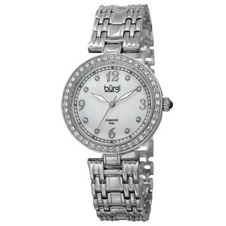 Burgi Women Quartz Dial Crystal Bezel Silver-Tone Bracelet Watch with FREE GIFT - Silver
