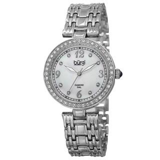 Burgi Women Quartz Dial Swarovski Accented Bezel Silver-Tone Bracelet Watch - silver