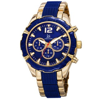 Joshua & Sons Men's Swiss Quartz Multifunction Dual-Time Gold-Tone Bracelet Watch